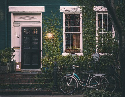 Vintage, House, Bicycle, Home