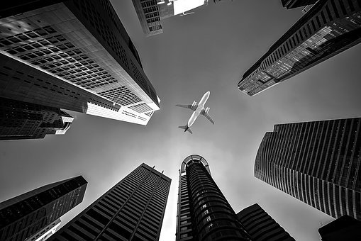 Airplane, Buildings, Perspective